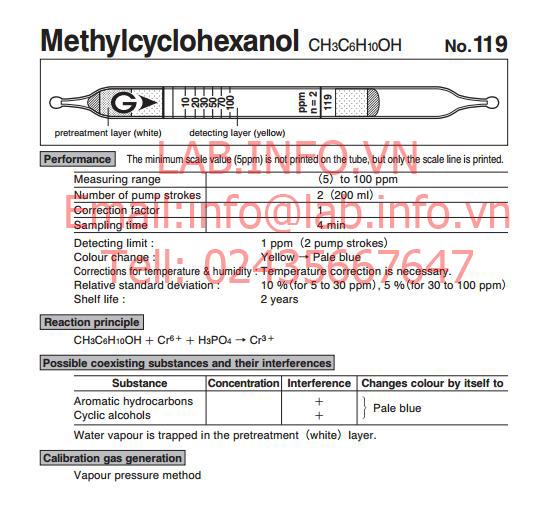 Ống phát hiện khí nhanh Methyl Cychlohexanol