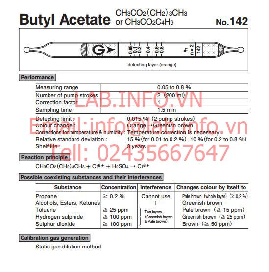Test thử khí nhanh Butyl acetate