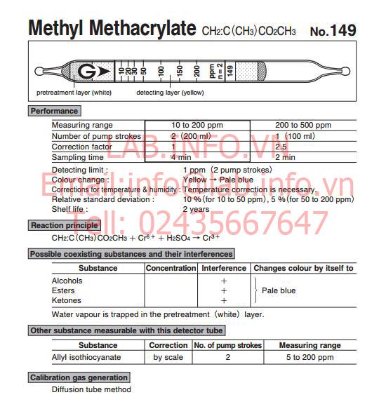 Ống phát hiện khí nhanh Methyl methacrylate