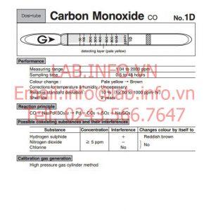 Ống phát hiện khí nhanh gastec carbon monoxide co 1D