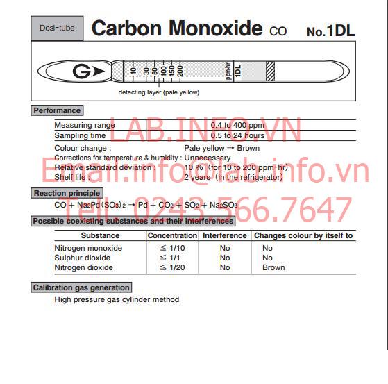 Ống phát hiện khí nhanh gastec carbon monoxide co 1DL
