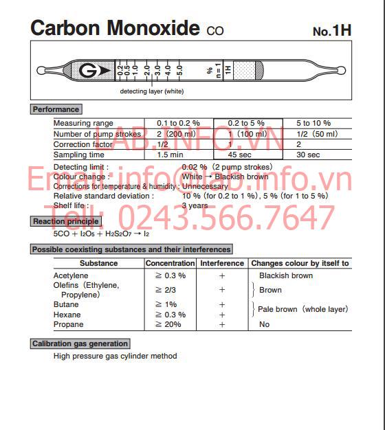 Ống phát hiện khí nhanh gastec carbon monoxide co 1H