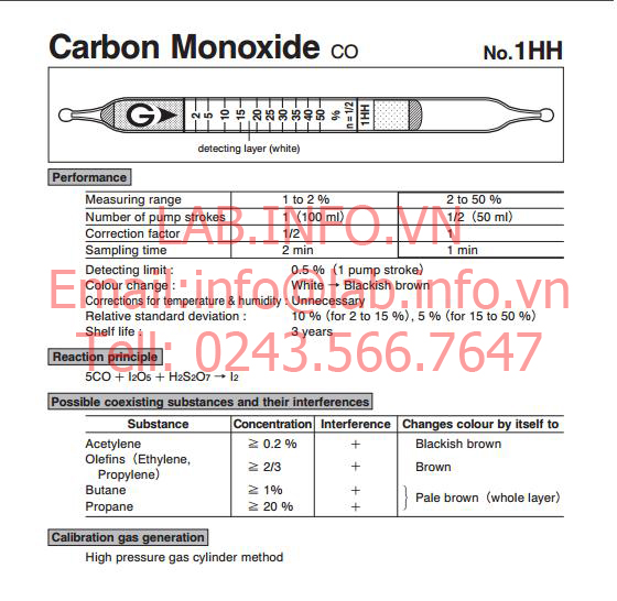 Ống phát hiện khí nhanh gastec carbon monoxide co 1HH