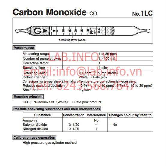 Ống phát hiện khí nhanh gastec carbon monoxide co 1lc