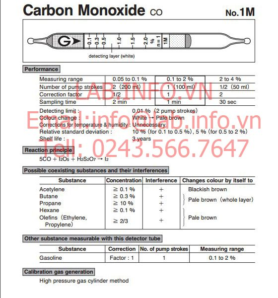 Ống phát hiện khí nhanh gastec carbon monoxide co