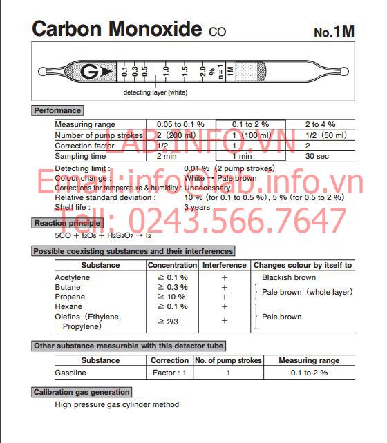 Ống phát hiện khí nhanh carbon monoxide