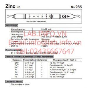 Ống phát hiện nồng độ kẽm Zinc