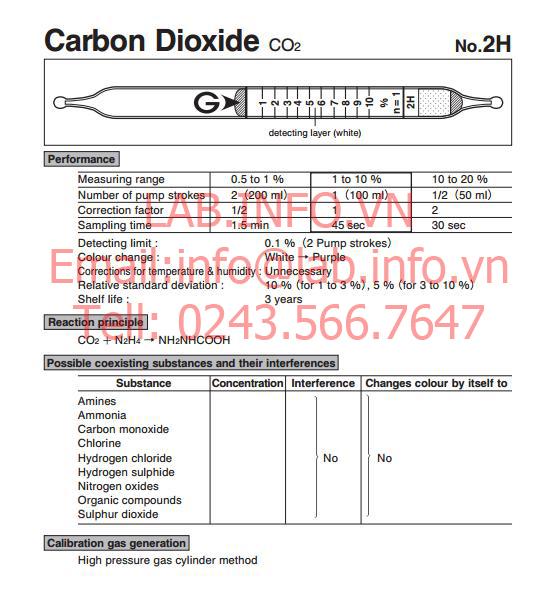 Ống phát hiện khí nhanh gastec carbon dioxide CO2, ống dò khí hiệu ứng mầu, 2H