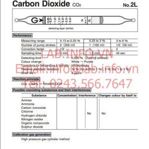 Ống phát hiện khí nhanh gastec carbon dioxide CO2, ống dò khí hiệu ứng mầu 2L