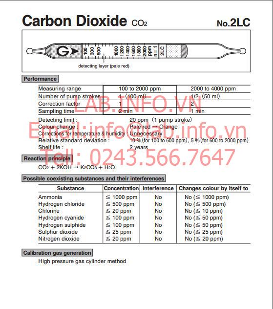 Ống phát hiện khí nhanh gastec carbon dioxide CO2, ống dò khí hiệu ứng mầu 2LC
