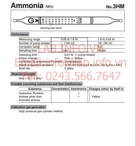 phát hiện nhanh hơi khí độc ammonia NH3 3HM
