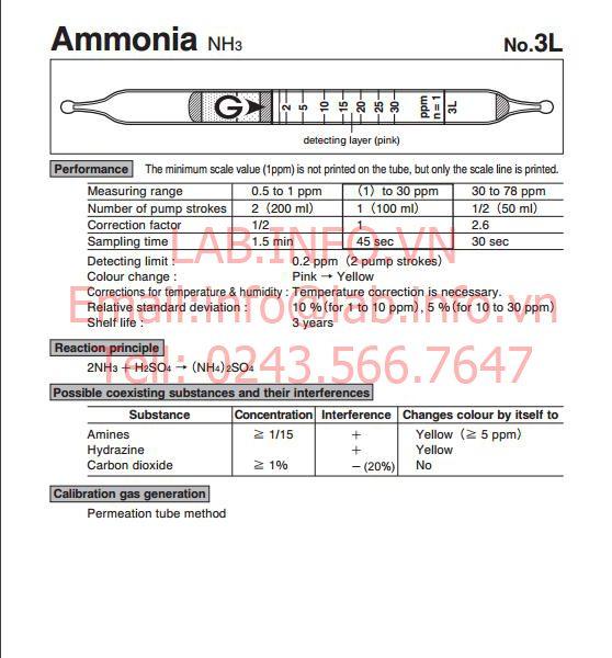 phát hiện nhanh hơi khí độc ammonia NH3 3L