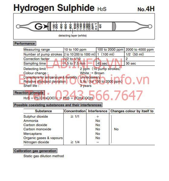 Ống phát hiện khí nhanh hydrogen sulphide H2S 4H