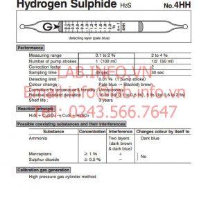 Ống phát hiện khí nhanh hydrogen sulphide H2S 4HH