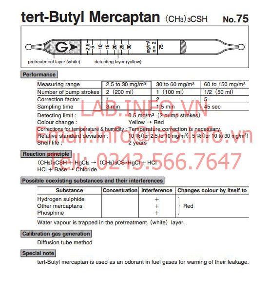 Ống phát hiện nhanh khí độc Tert-Butyl mercaptan