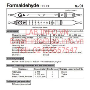 Ống phát hiện khí nhanh Gastec No.91 Formaldehyde HCHO