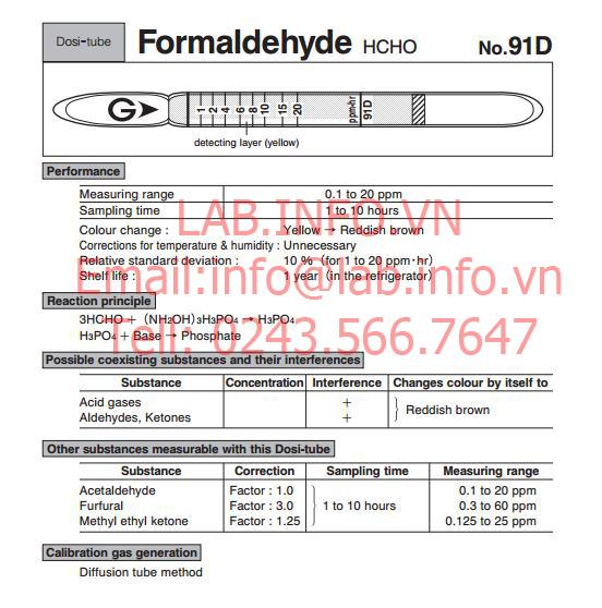 Ống phát hiện khí nhanh Gastec No.91TD Formaldehyde HCHO