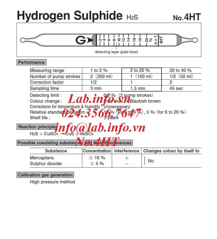 Ống phát hiện khí nhanh gastec 4HT hydrogen sulfide